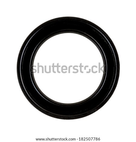 A rubber transmission seal used in small and large engines on a white background.