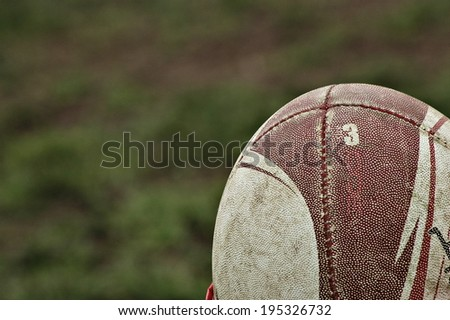 A rugby ball in a sports competition. - stock photo