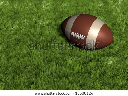 A rugby ball on grass field - rendered in 3d