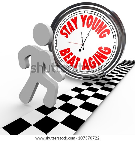 A runner in a race against time crosses the finish line before a clock with the words Stay Young Beat Aging, an attempt to maintain youth through exercise and put off the aging process