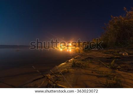 A rural small lake at night, nature series - stock photo