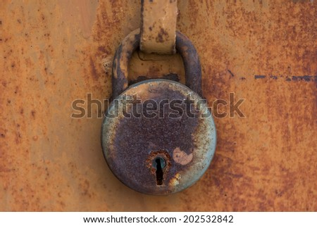 A rusted lock - stock photo