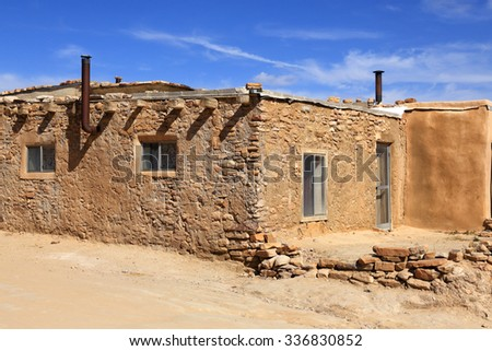 A rustic building at the Acoma Pueblo in New Mexico. - stock photo
