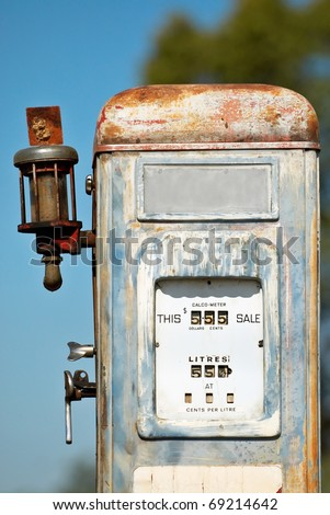 A rustic, old and weather-battered fuel/gas pump in outback New South Wales. - stock photo