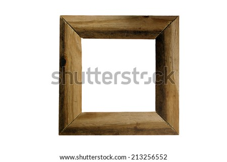 A rustic wood picture frame with curved surfaces, made of aged and weathered wood, actual dimensions 8 x 8 inches.  Isolated on a white background with generous copyspace. - stock photo