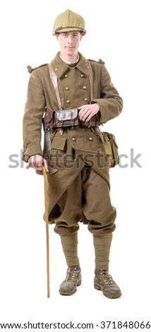 a 40s french soldier with a flag, front view, isolated on a white background