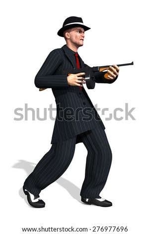A 1920's gangster wearing a zoot suit and holding a tommy gun - 3d render. - stock photo