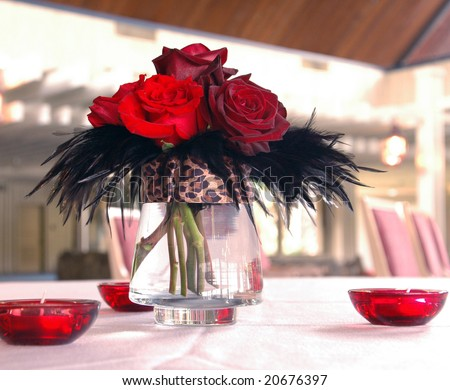 A 1940s inspired centerpiece at a wedding reception - stock photo