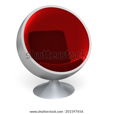 A 70's modern throwback designed chair for modern living with red cushions - stock photo