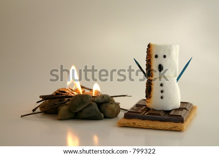 A s'more snowman gets a bit too close to the fire and is on his way to becoming a tasty treat.