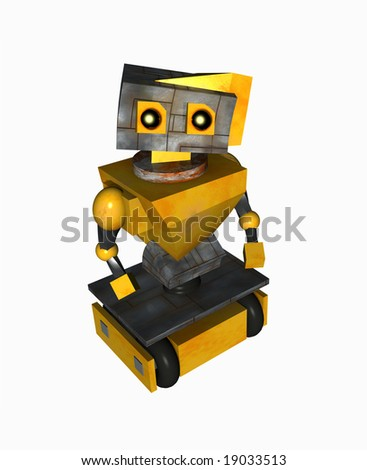 A sad little robot looking up. - stock photo