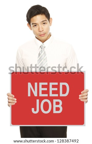 A sad man looking for work (on white background)
