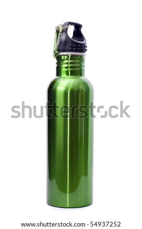 A safe, reusable, green, stainless steel water bottle isolated on white background. - stock photo
