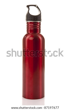 A safe, reusable, red, stainless steel water bottle isolated on white background. - stock photo