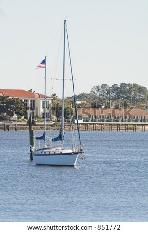 A sailboat on the river in St. Augustine - stock photo