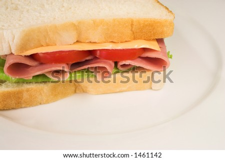 A salami, cheese, tomato and lettuce sandwich on a white plate.