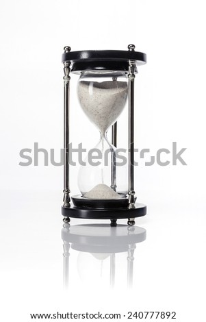 A sand timer(hour glass) isolated white at the studio.