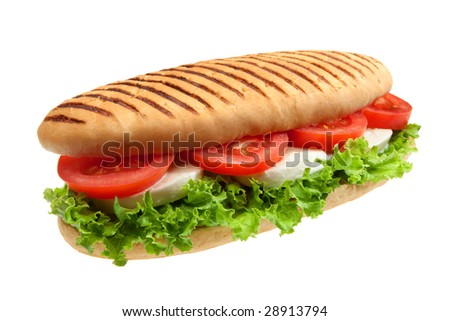 A sandwich with mozzarella, tomato and salad - stock photo