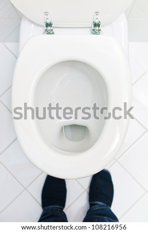 a sanitary flush toilet in a household. bathroom and toilet - stock photo