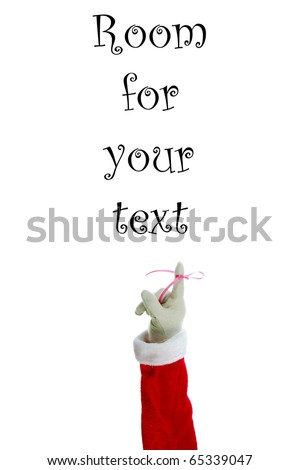 """A Santa Claus arm with a red bow on the index finger to remind everyone """"Don't Forget"""" December 24th is Christmas Eve.  Isolated on white with room for your text or images - stock photo"""