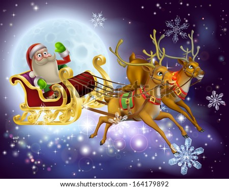 A Santa Claus sleigh Christmas scene of Santa Claus flying through the air on his sled being pulled by reindeer with snowflakes and full moon - stock photo