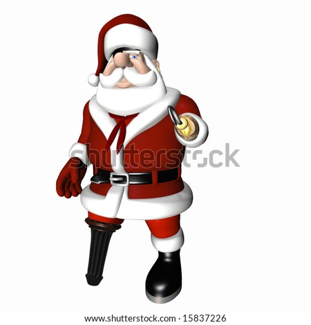 A Santa pirate.  Santa with an earring, eye patch, hook, and peg leg. Isolated on a white background.
