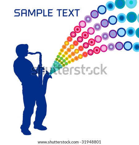 A sax player, playing a colorful tune - stock photo