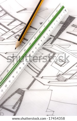 A scale ruler on a technical drawing with selective focus - stock photo