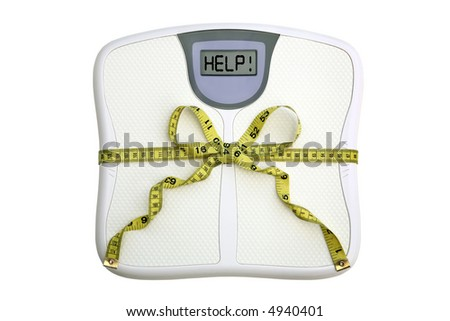 A scale with a tape measure wrapped around it tied in a bow. The display window says HELP!  White background. Dieting concept. - stock photo