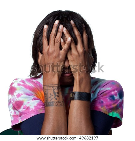 A scared african american woman - stock photo