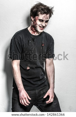 a scary and bloody zombie man