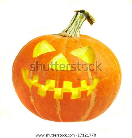 A scary old jack-o-lantern on white... - stock photo