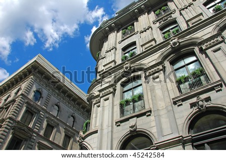 A scene from the old section of Montreal, Canada (old French architecture) - stock photo