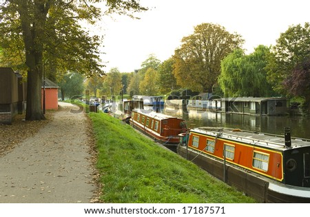 A scene from the river Cam. Cambridge, UK - stock photo
