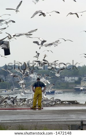 A scene taken on the waterfront wharfs in Portland, Maine. - stock photo