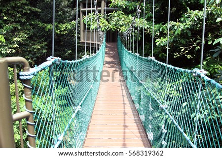 A scenery of suspension bridge for Canopy walk over a tropical forest at Kuala Lumpur KL & Scenery Suspension Bridge Canopy Walk Over Stock Photo 568319278 ...