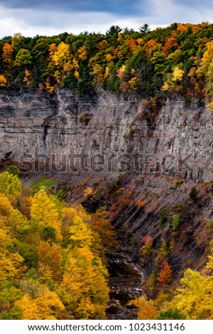 A scenic, autumn glance at Taughannock Gorge at Taughannock Falls State Park near Ithaca, New York.