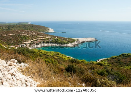A scenic bay of Vis island in Croatia