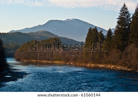 A scenic view at the valley of River Gail in Carinthia/Austria