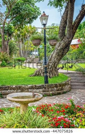 A scenic view of Queens Park in Hamilton, Bermuda on a nice Spring day. - stock photo