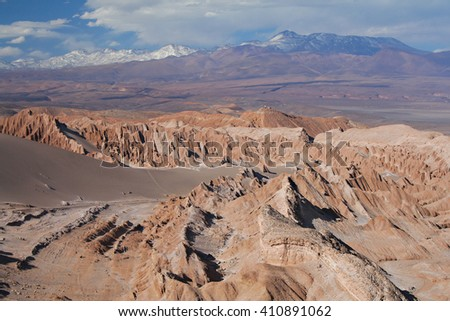 A scenic view of the Atacama desert