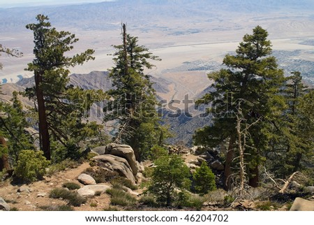 A scenic view of the Palm Springs California area from the mountain top in San Jacinto State Park. - stock photo