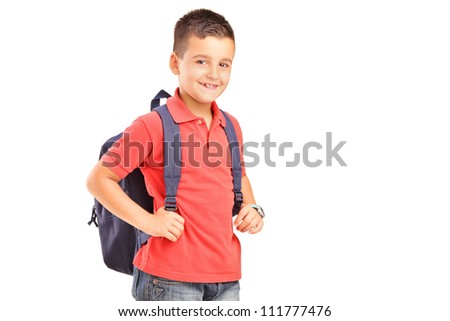 A school boy with backpack isolated against white background