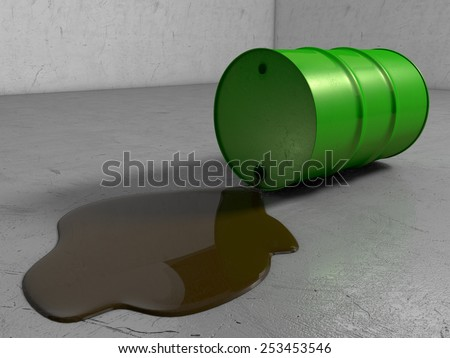 A Scratched Green metal Oil drum lying on its side whilst leaking oil onto scratchy Surface - stock photo