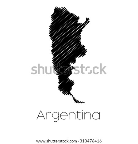 A Scribbled Map of the country of  Argentina