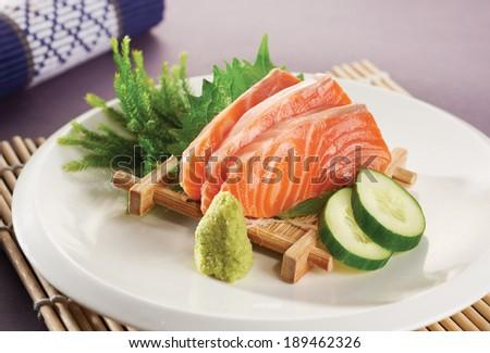 A scrumptious salmon sashimi on plate. - stock photo