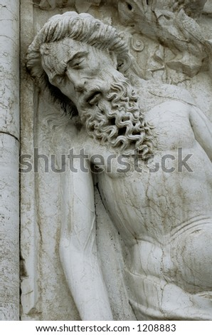 A sculpture of the drunken Noah, situated on the south-west corner of the Doge's Palace, Venice, Italy.