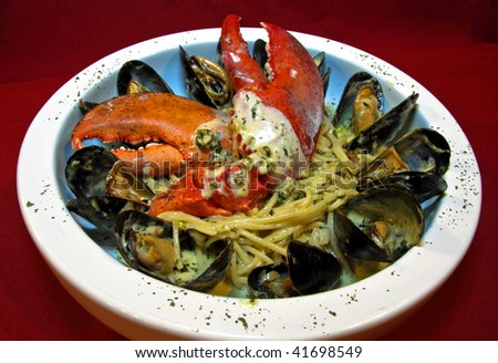 A seafood linguine plate - stock photo