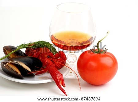 A seafood on the plate - stock photo