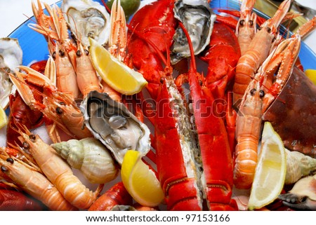 A seafood platter close up